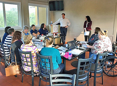 Gentry Locke attorneys Brett Marston and Alicha Grubb present to the NAWIC Roanoke Valley Chapter on April 16, 2019.