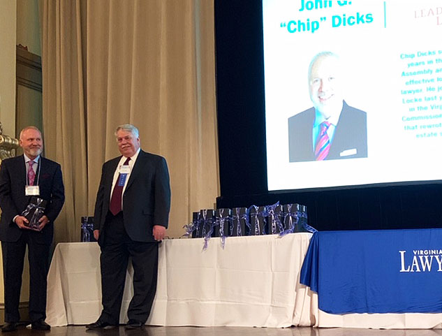 "Gentry Locke Partner John G. ""Chip"" Dicks is Awarded at Leaders in the Law Program."